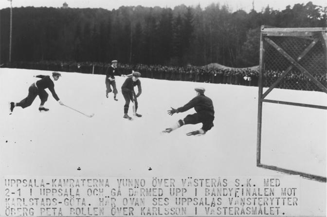 Bror Öberg gör 2-1 i semifinalen mot Västerås SK.