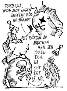 Karikatyren illustrerar IF Götas självsäkerhet inför SM-finalen 1933.